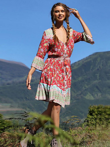 Vestito Boemo estivo 2020 Abito a maniche lunghe con bottoni stampati floreali per le donne