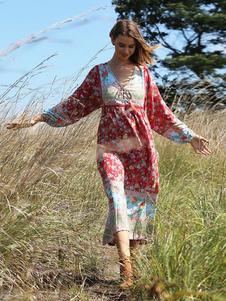 Vestidos Largos Boho Estampado Floral Para Mujeres Vestidos Playeros De Mangas Largas Con Cuello En V Borlas