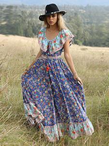 Vestito Boho Maxi 2020 Abito estivo da donna a spalla con stampa floreale e arricciatura a nappe