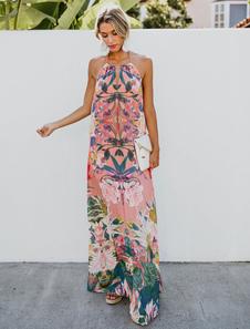Maxi Vestidos De Verão Floral Imprimir Halter Mulheres Borlas Atadas Vestido Longo