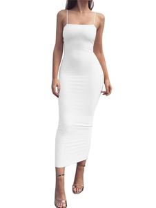 Bodycon Slip Dress Mulheres sem mangas Maxi Dress Going Out Vestidos