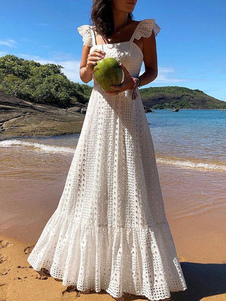 فستان طويل أبيض Boho فستان الدانتيل المرأة بلا أكمام الرتوش فستان الشاطئ