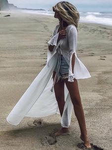 Las mujeres se cubren Sheer Split Knotted escote pronunciado de manga larga Summer Beach Cover Up