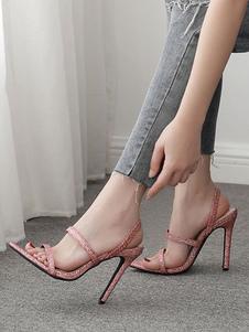 Sandálias de salto alto rosa Glitter aberto Toe Strappy sandália sapatos para mulheres
