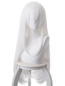 Carnaval White Anime Wig Re Zero Comenzando la vida en otro mundo Ekidona Fringe Japanese Anime Cosplay Pelucas Halloween