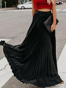 Falda plisada maxi para mujeres 2020 Falda larga de swing