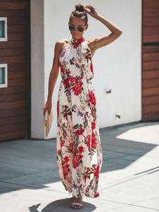 الفستان الأزهار الصيف عام2020 اللباس المرأة بلا أكمام مطوي فستان ماكسي