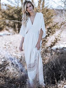 Vestido largo blanco  Moda Mujer de algodón mezclado de encaje Vestidos Color liso para moldear el cuerpo con cuello en V estilo bohemio Verano