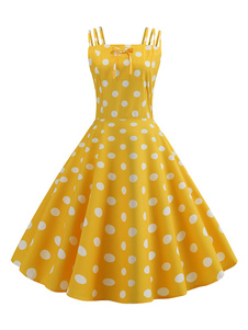 50er Jahre Retro-Kleid Polka Dot Woman ärmelloses Rockabilly-Kleid