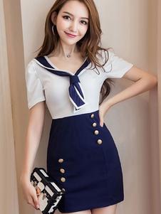 Mini Vestidos 2020 De Marinheiro Azul Dois Tons Mangas Curtas Botões Mulheres Vestido Curto