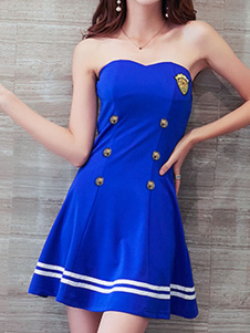 Sailor Summer Dresses Trägerlose ärmellose Knöpfe Fit und Flare Dress