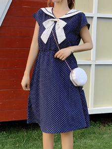 Sailor Summer Dresses Kurze Ärmel Bögen Polka Dot Fit und Flare Dress