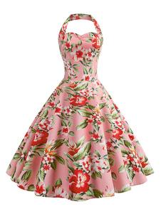 レトロワンピース 花柄 ピンク ロカビリー ワンピース プリーツ ストラップ 1950年代 ヴィンテージワンピース 綿混紡 レディースワンピース 二次会 発表会 お呼ばれ レディースファッション