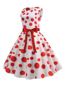 Vestido de verano de la década de 1950, mujer, lunares, vestido de Rockabilly