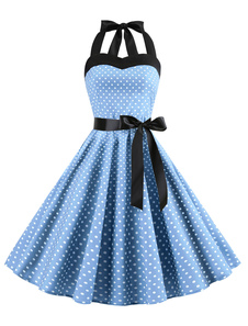 Abito estivo Rockabilly a pois anni 1950 Swing Dress