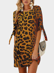 Shift Dresses 3/4 Length Sleeves Leopard Print Casual Jewel Neck Abito a tunica