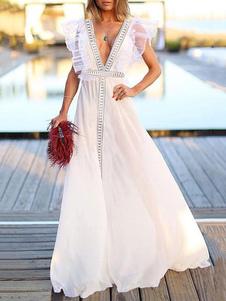 Белое макси платье без спинки с V-образным вырезом с оборками без рукавов летнее платье женщин