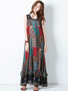 Übergroßes Maxikleid Boho Printed Sleeveless Summer Dress