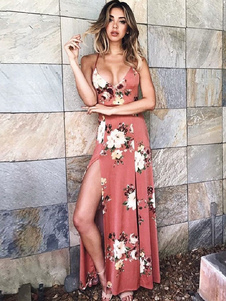 Floral Maxi Dress 2019 Split Ärmelloses Damen Sommerkleid