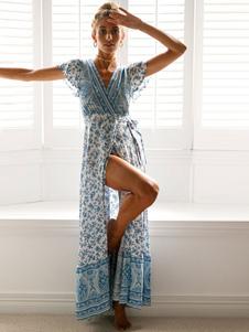 自由奔放に生きるマキシドレス花柄Vネックスプリット半袖ブルーサマードレス