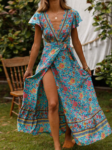 Vestidos Largos Bohemios 2020 Cielo Azul Claro Vestidos Playeros Con Cuello En V Mangas Cortas Estampado Floral Dividido