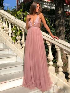 Sexy maxi vestidos lantejoulas rosa v do pescoço sem mangas chiffon até o chão vestido de noite