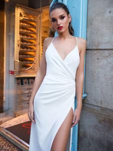 Vestido Longo Branco Vestido Deslizante Sexy Com Decote Em V Sem Manga Vestidos Backless Maxi