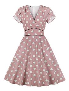 Vestido Swing Vintage Com Bolsos 1950s Polka Dot V Neck vestido de manga curta de verão
