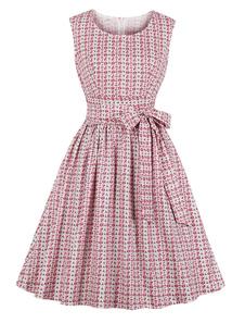 Vestido de balanço retro da faixa do vestido do verão das mulheres dos anos 50 do vestido floral do vintage com bolsos