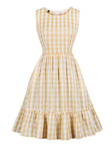 Vestido de manta vintage 1950s mulheres sem mangas vestido Midi com bolsos