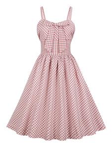 Vestido xadrez vintage com bolsos 1950s arco sem mangas vestido de verão midi