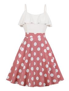Vestido de Verão Vintage 1950s Polka Dot Midi Vestido Com Bolsos