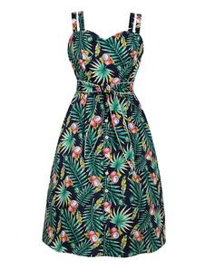 Vestido de verano vintage con estampado tropical Vestido midi de los años 50 con bolsillos