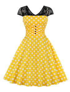 Vestido de festa do vintage 1950s amarelo polka dot rendas botão patch de manga curta midi dress