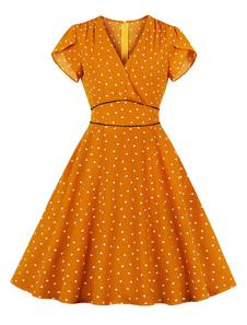 Vestido de verão vintage vestido de chá 1950s coração manga curta verão vestido com bolsos