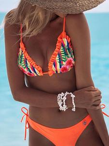 Bikini stampa floreale Costumi da Bagno Arancione Costumi vita alta con collo arrotondato pieghettature da spiaggia di poliestere donna Vita bassa