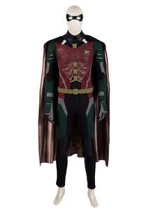 DC Cosplay Traje Os Titãs Robin Nightwing Borgonha PU Couro Definir Filme TV Drama Trajes Cosplay Halloween