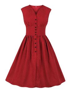 Vestido vintage verão 1950s Audrey Hepburn botão sem mangas até vestido