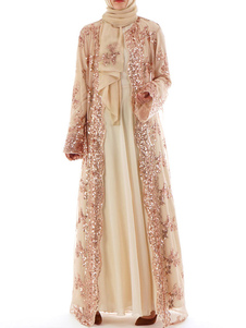Kimono musulmano Cover Up Dress Paillettes maniche lunghe abiti arabi