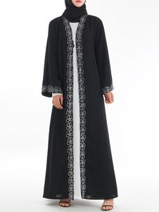 Vestido Abaya negro Vestido de mujer musulmana Frente abierta de manga larga Ropa árabe