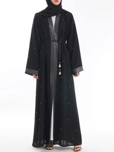 Abaya Maxi Dress Vestito da donna musulmana con maniche lunghe aperte con borchie nere