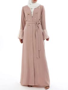 Maxi vestido de mujer musulmana vestido tachonado frente delantera campana manga árabe ropa