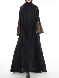 Vestido Abaya Preto Muçulmano Vestido Mulheres Beading Frente Aberta Manga Longa Roupas Árabes