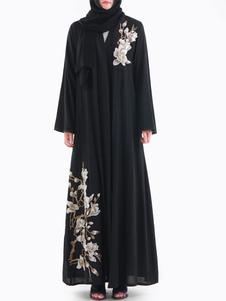 Abayaマキシドレスイスラム教徒の女性のドレス刺繍オープンフロント長袖アラビア服