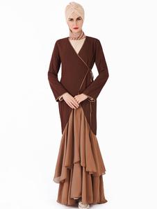 Maxi vestido de las mujeres musulmanas de dos tonos de gasa de manga larga con volantes ropa árabe