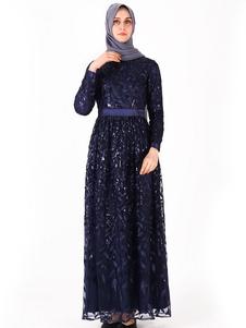 Musulmán vestido de noche mujer hoja patrón manga larga ropa árabe