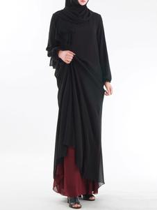 Vestido Maxi Muçulmano Manga Comprida Dois Tons Mulheres Vestido Kaftan