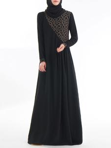 Muçulmano Kaftan Vestido Mulheres Manga Longa Roupas Árabes
