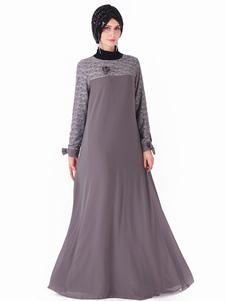Maxi abito da donna musulmano in kaftano con maniche lunghe
