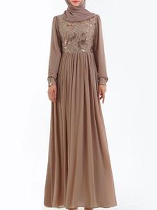 Vestido de noche musulmán de manga larga bordado ropa árabe